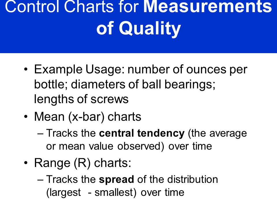 Control Charts for Measurements of Quality
