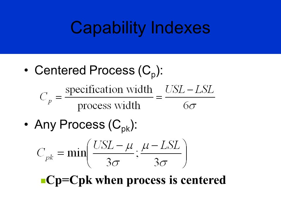 Capability Indexes Centered Process (Cp): Any Process (Cpk):