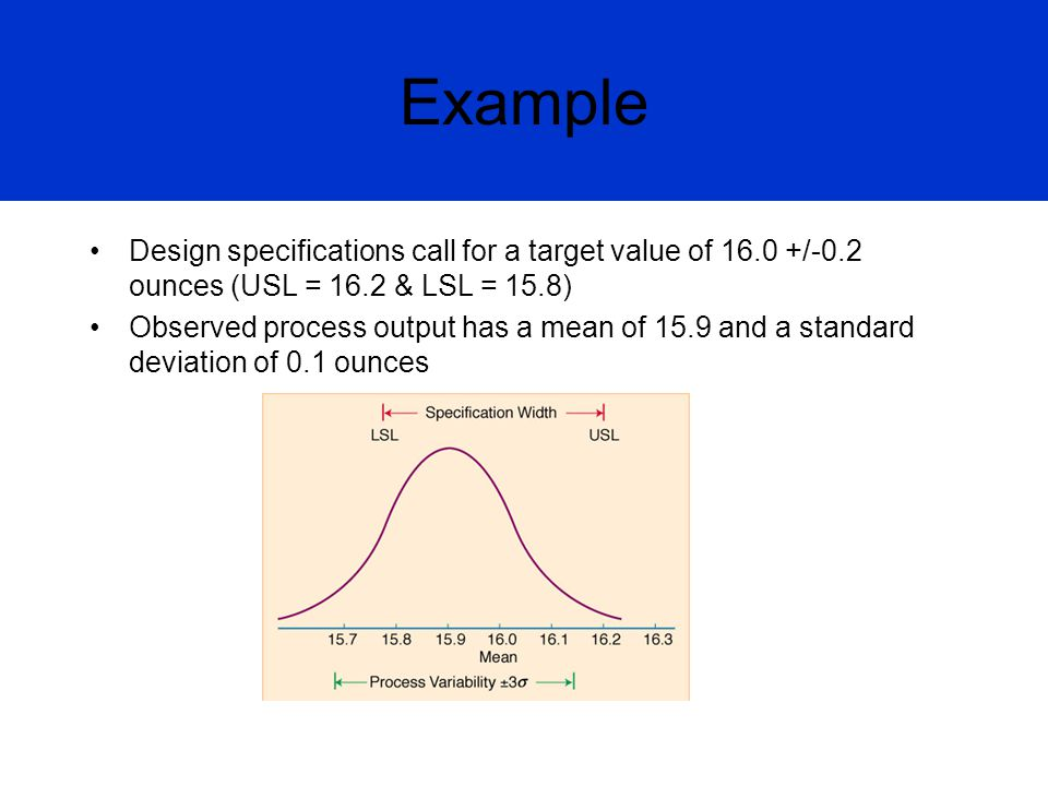 Example Design specifications call for a target value of 16.0 +/-0.2 ounces (USL = 16.2 & LSL = 15.8)