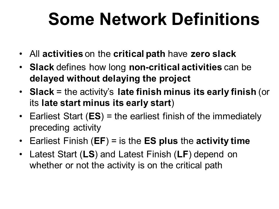 Some Network Definitions