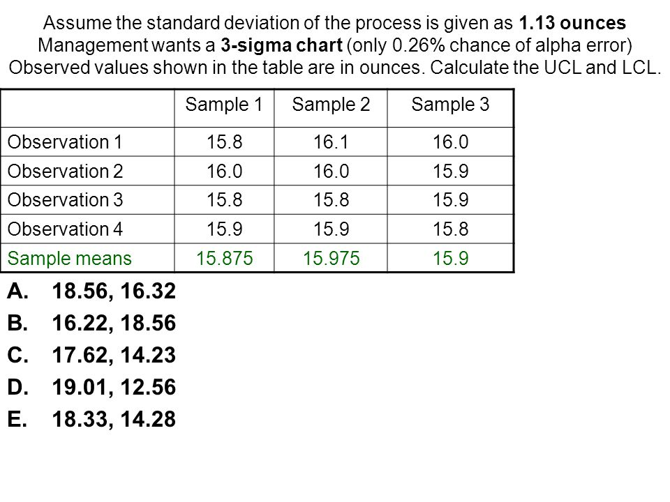 Assume the standard deviation of the process is given as 1
