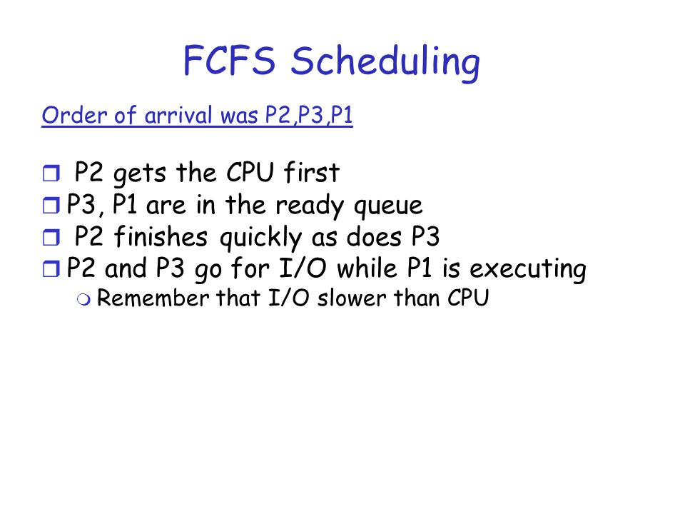 FCFS Scheduling P2 gets the CPU first P3, P1 are in the ready queue