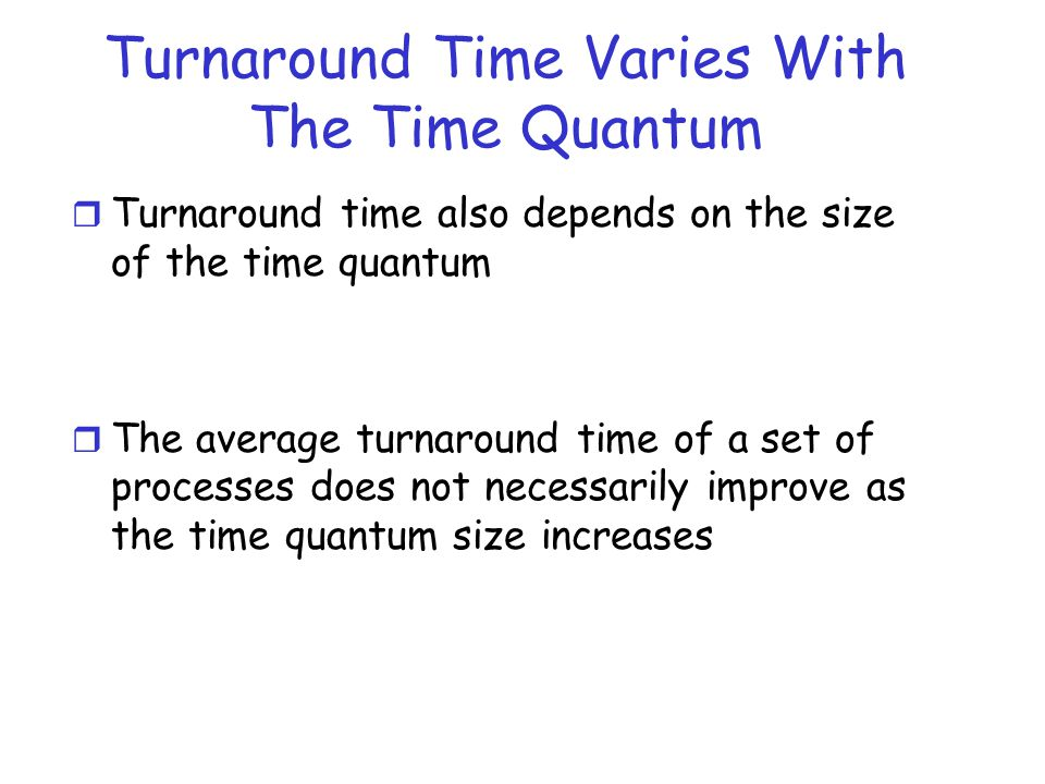 Turnaround Time Varies With The Time Quantum