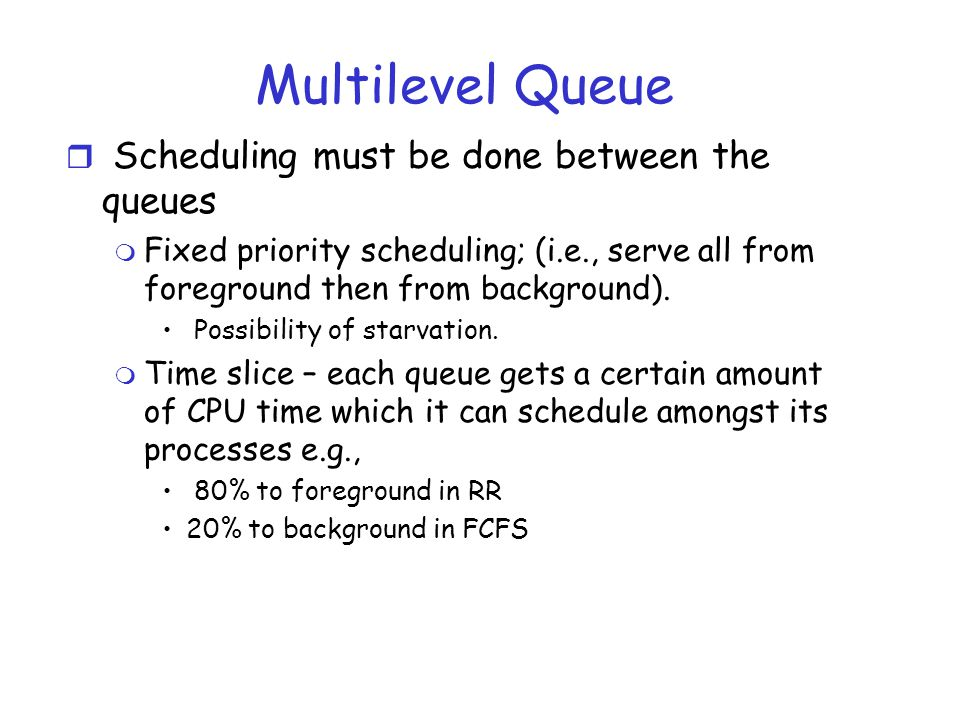 Multilevel Queue Scheduling must be done between the queues