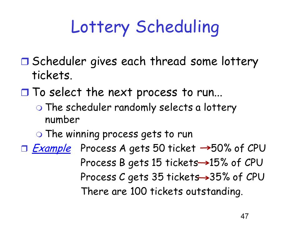 Lottery Scheduling Scheduler gives each thread some lottery tickets.