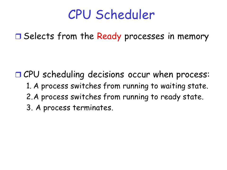 CPU Scheduler Selects from the Ready processes in memory