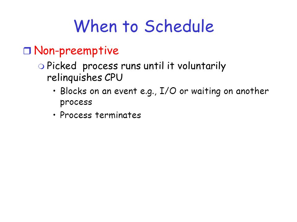 When to Schedule Non-preemptive