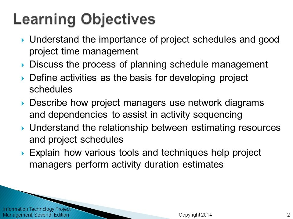 Learning Objectives Understand the importance of project schedules and good project time management.