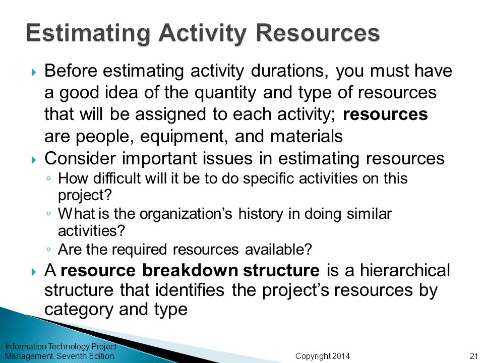 Estimating Activity Resources