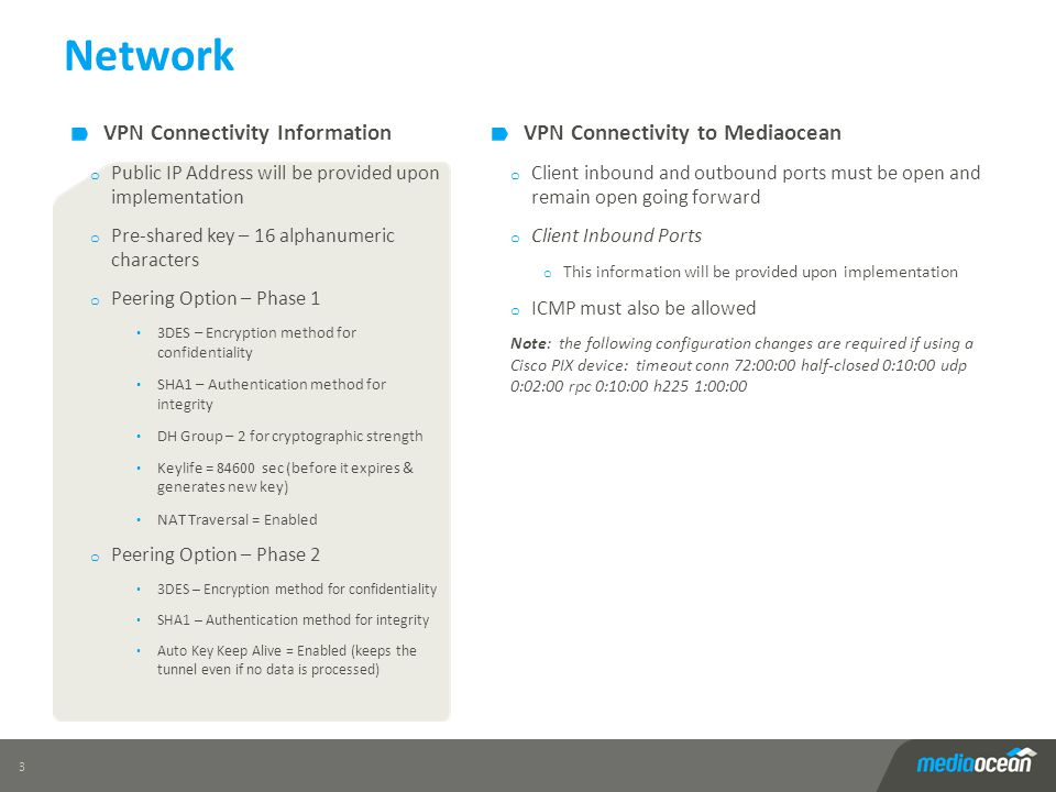 Network VPN Connectivity Information VPN Connectivity to Mediaocean