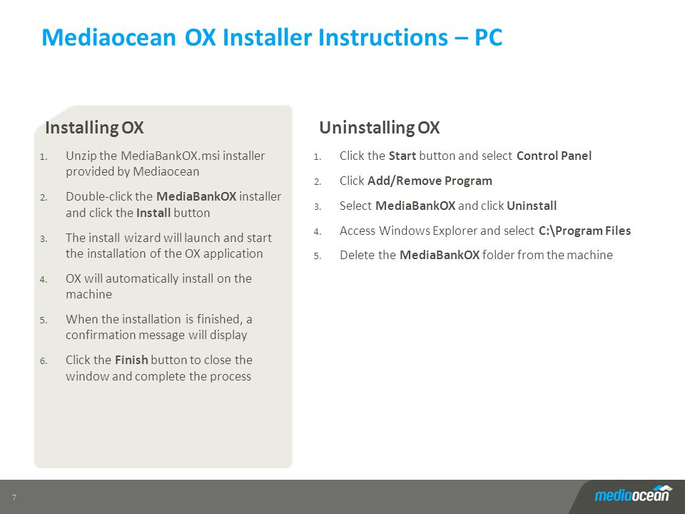 Mediaocean OX Installer Instructions – PC