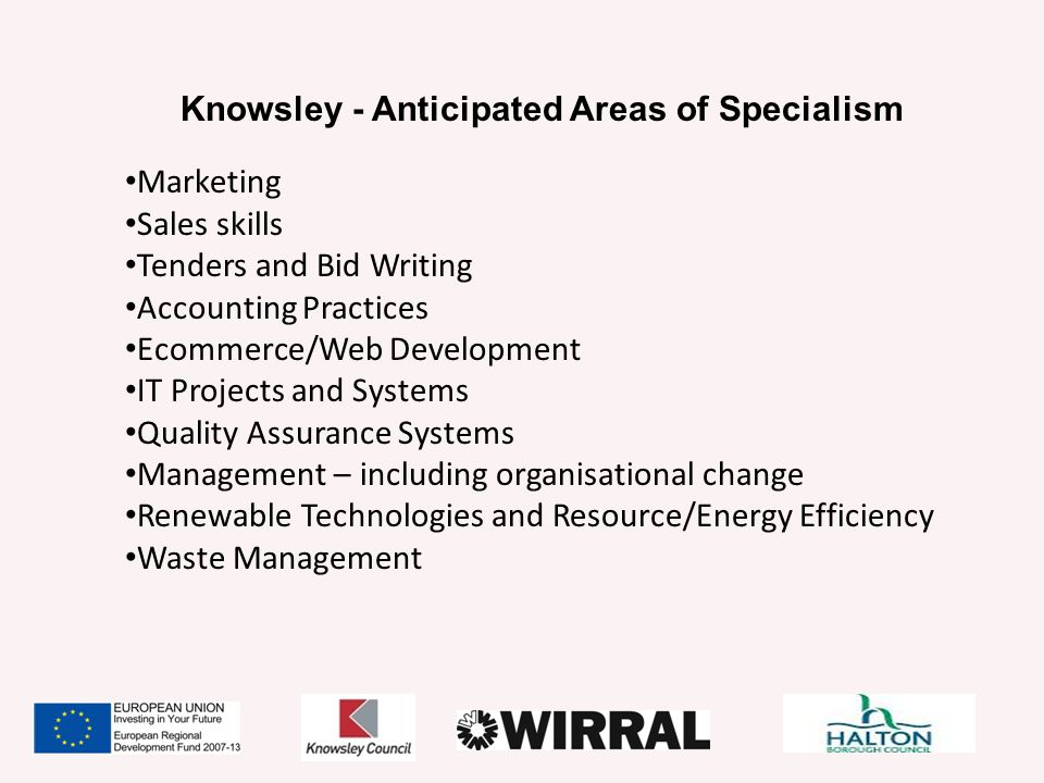 Knowsley - Anticipated Areas of Specialism