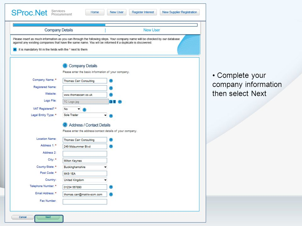 Complete your company information then select Next