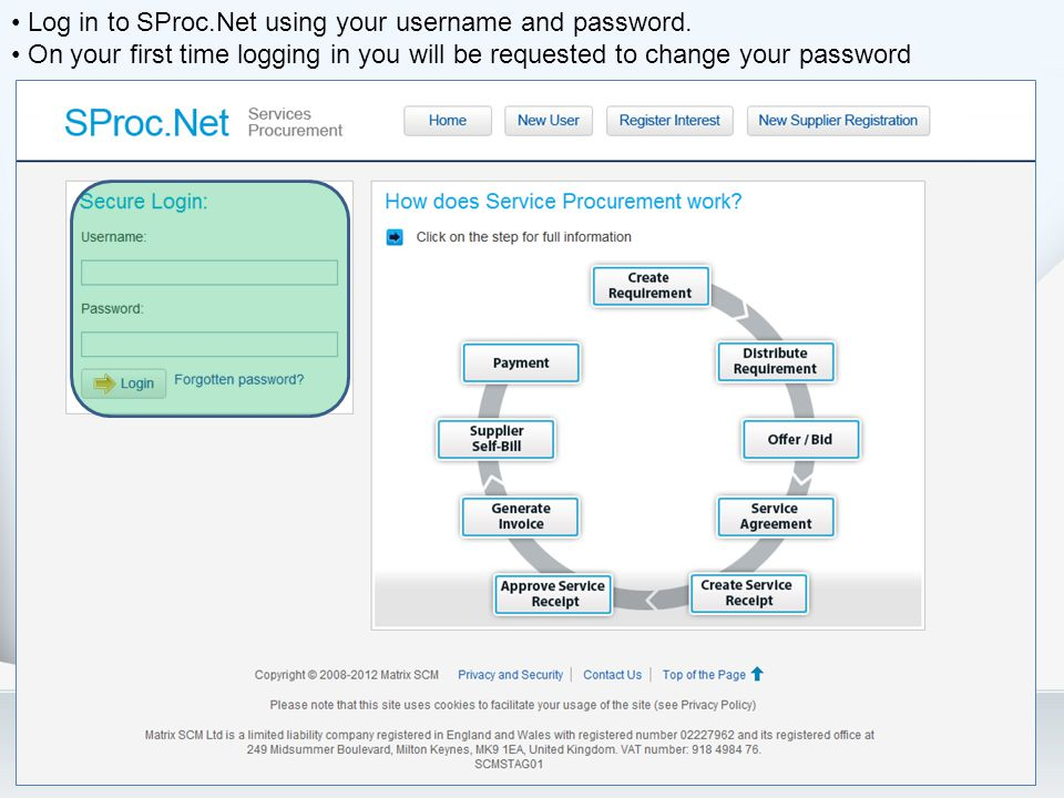 Log in to SProc.Net using your username and password.