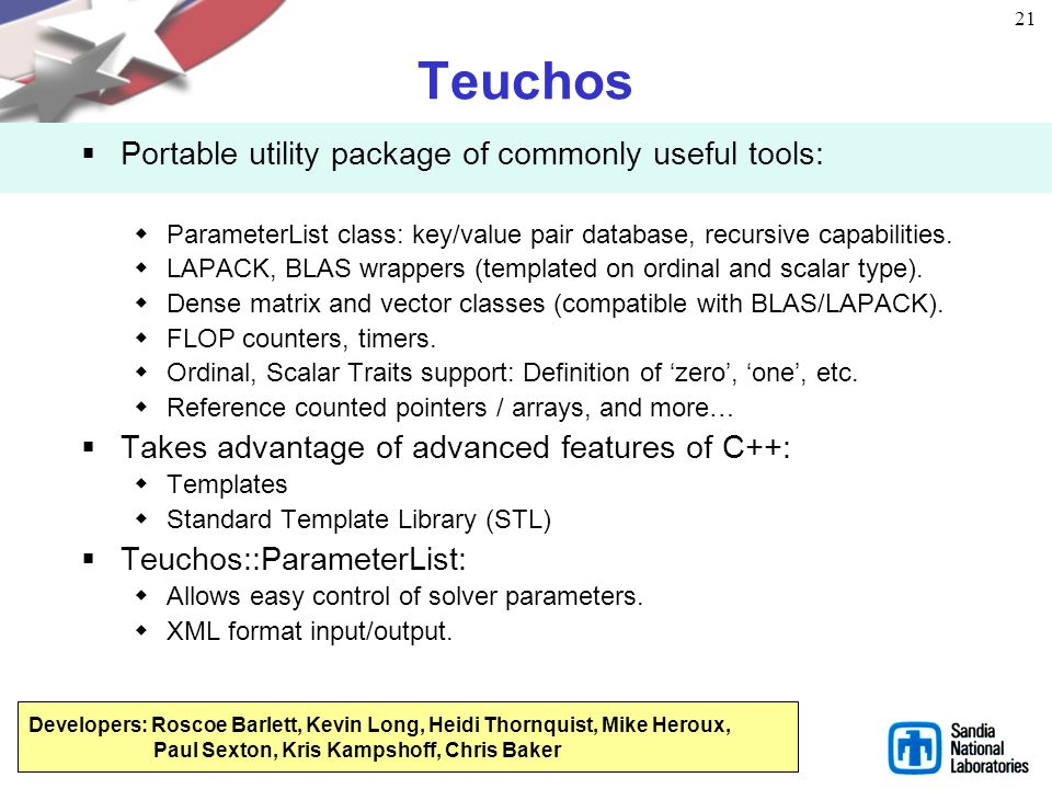 Teuchos Portable utility package of commonly useful tools: