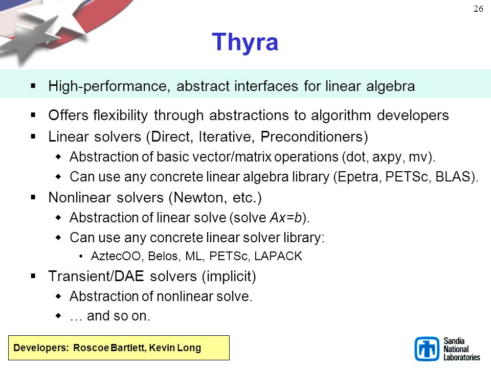 Thyra High-performance, abstract interfaces for linear algebra