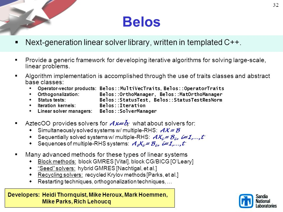 Belos Next-generation linear solver library, written in templated C++.