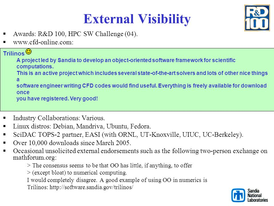 External Visibility Awards: R&D 100, HPC SW Challenge (04).