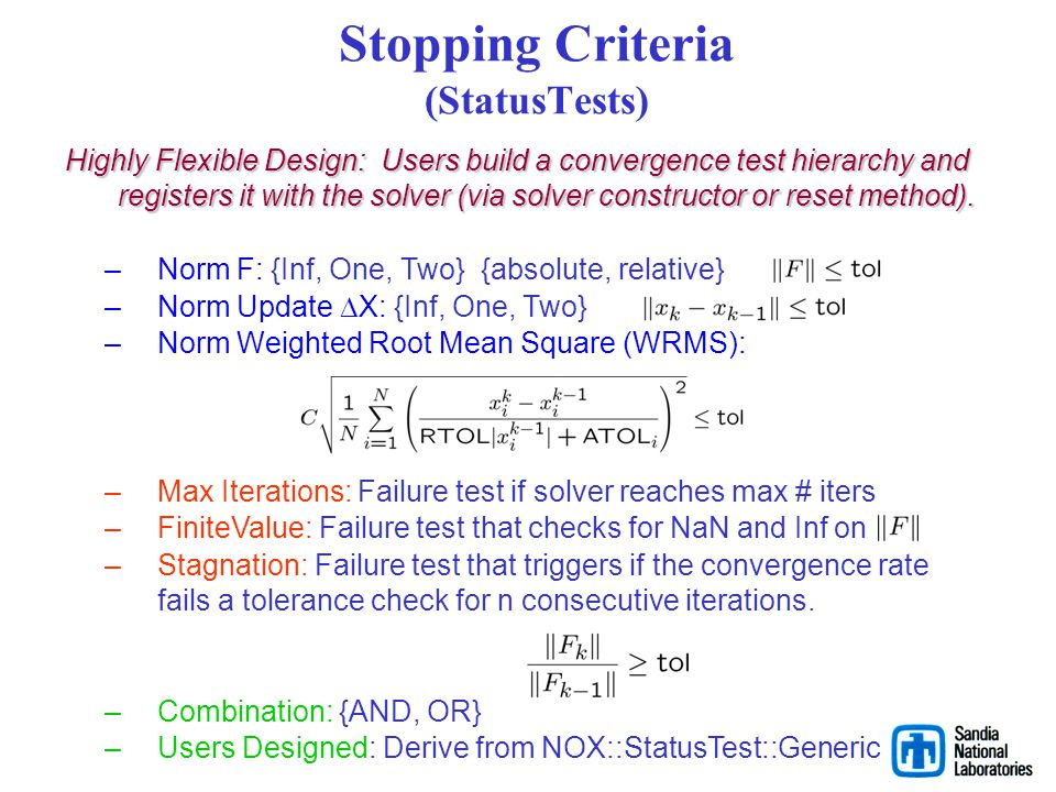 Stopping Criteria (StatusTests)