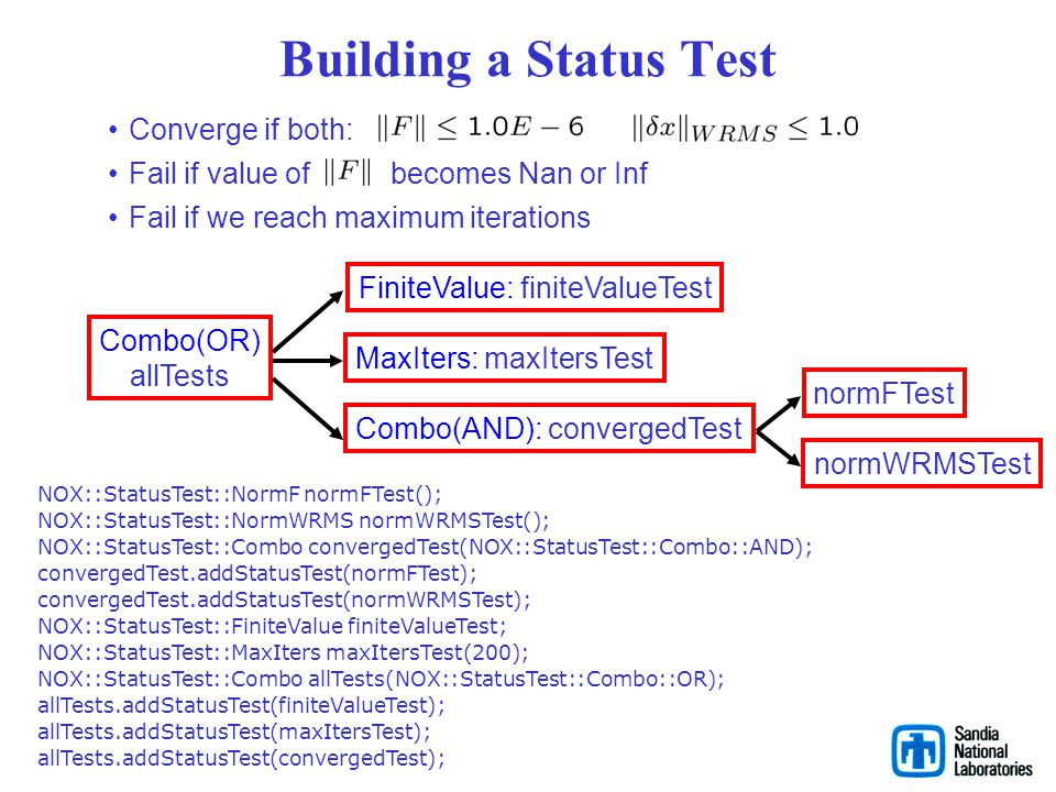 Building a Status Test Converge if both: