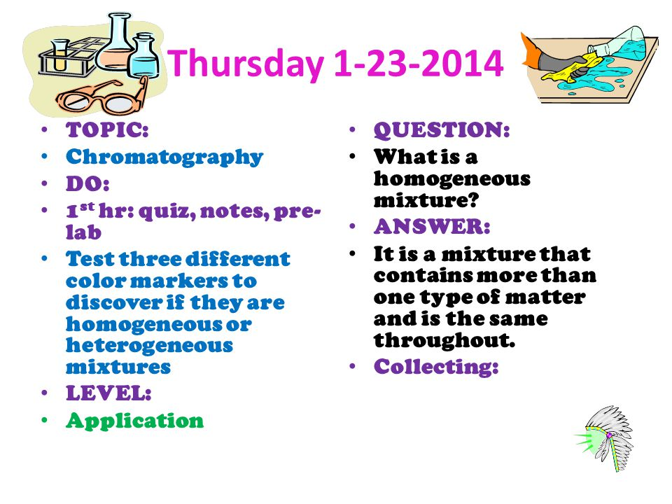 Thursday TOPIC: Chromatography DO: