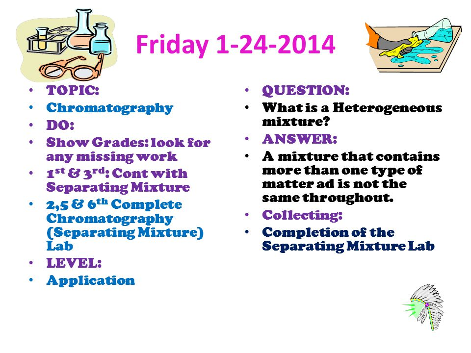 Friday TOPIC: Chromatography DO: