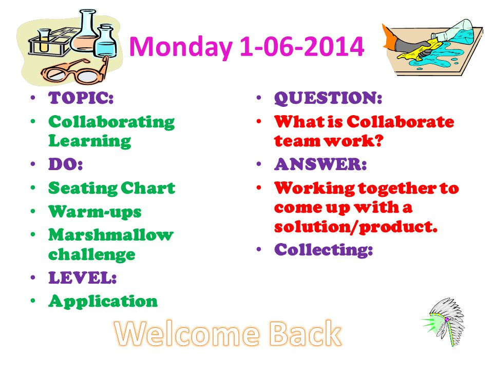 Welcome Back Monday TOPIC: Collaborating Learning DO: