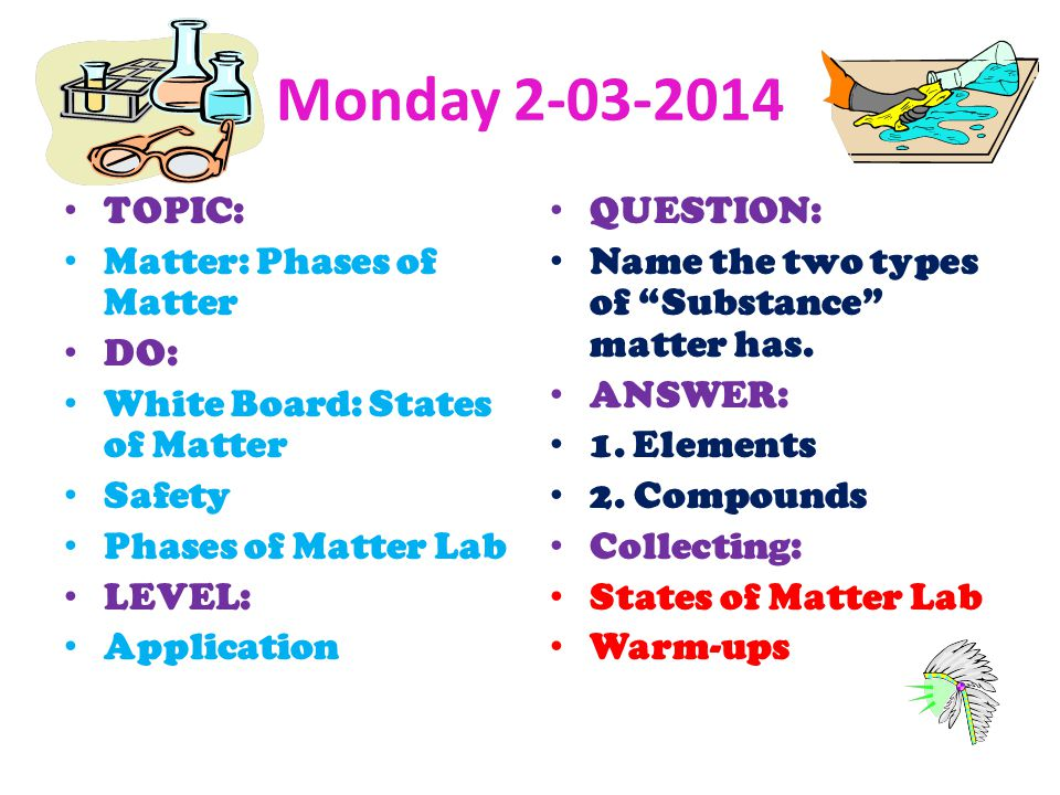 Monday TOPIC: Matter: Phases of Matter DO:
