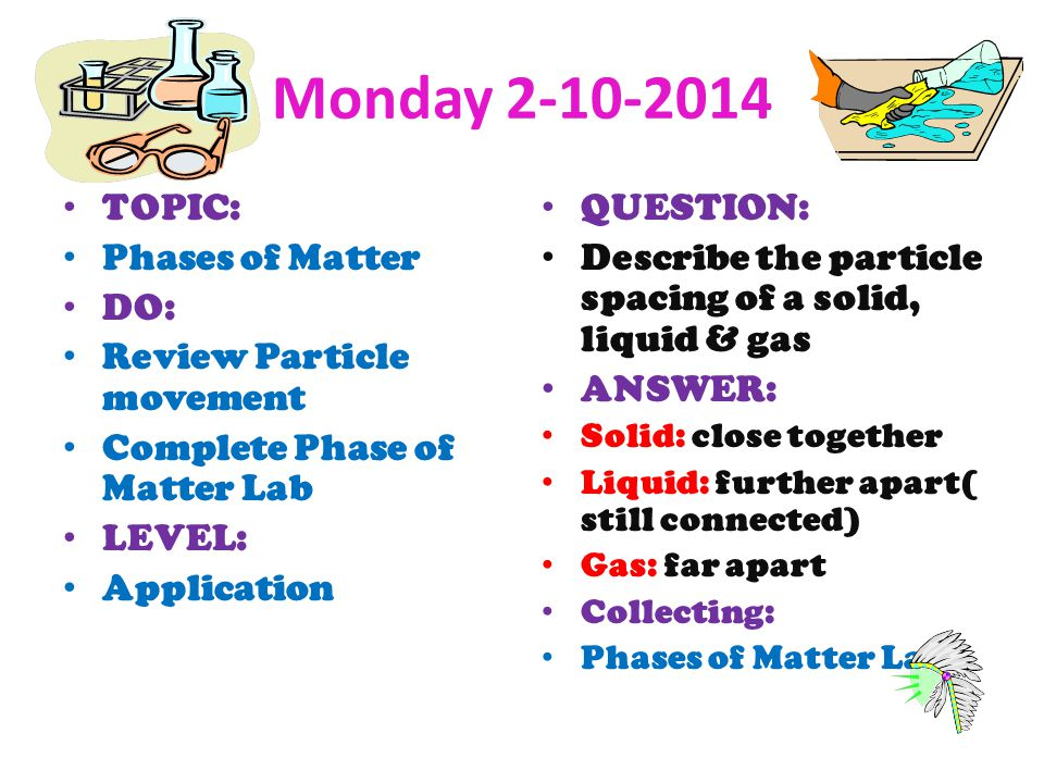 Monday TOPIC: Phases of Matter DO: Review Particle movement