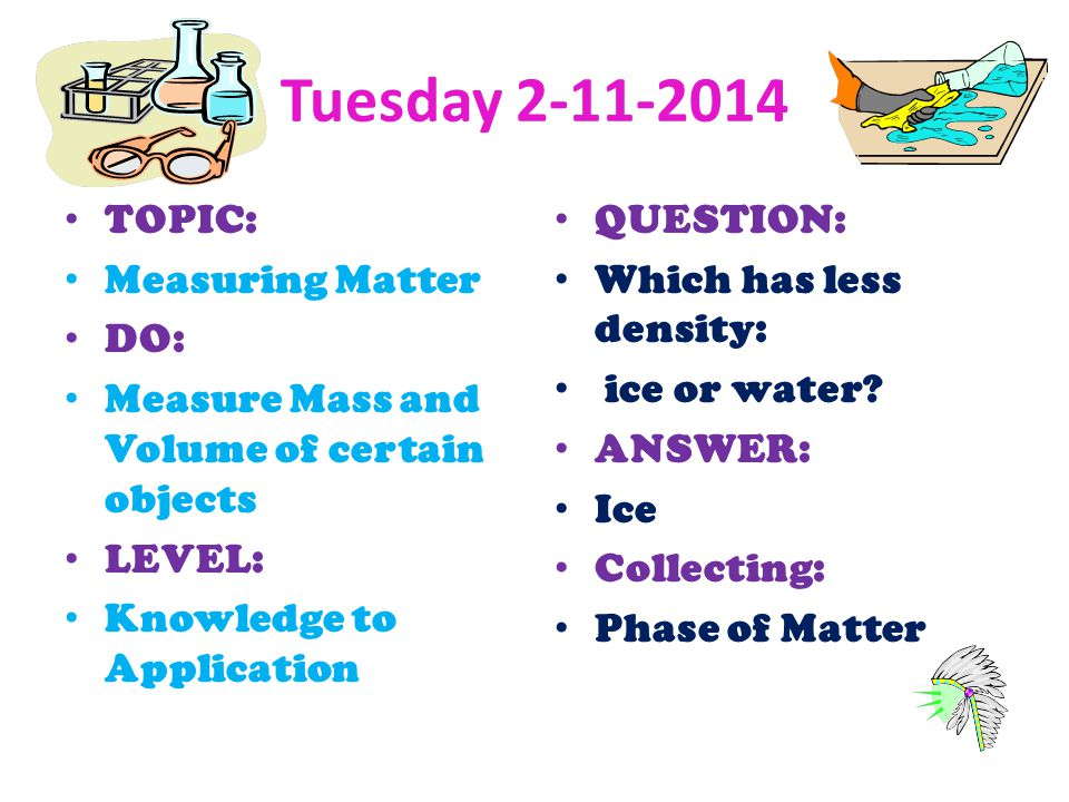 Tuesday TOPIC: Measuring Matter DO: