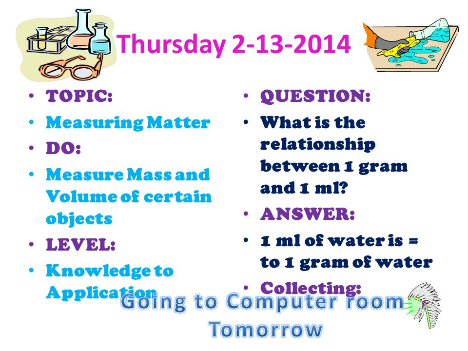 Thursday 2-13-2014 Going to Computer room Tomorrow TOPIC: