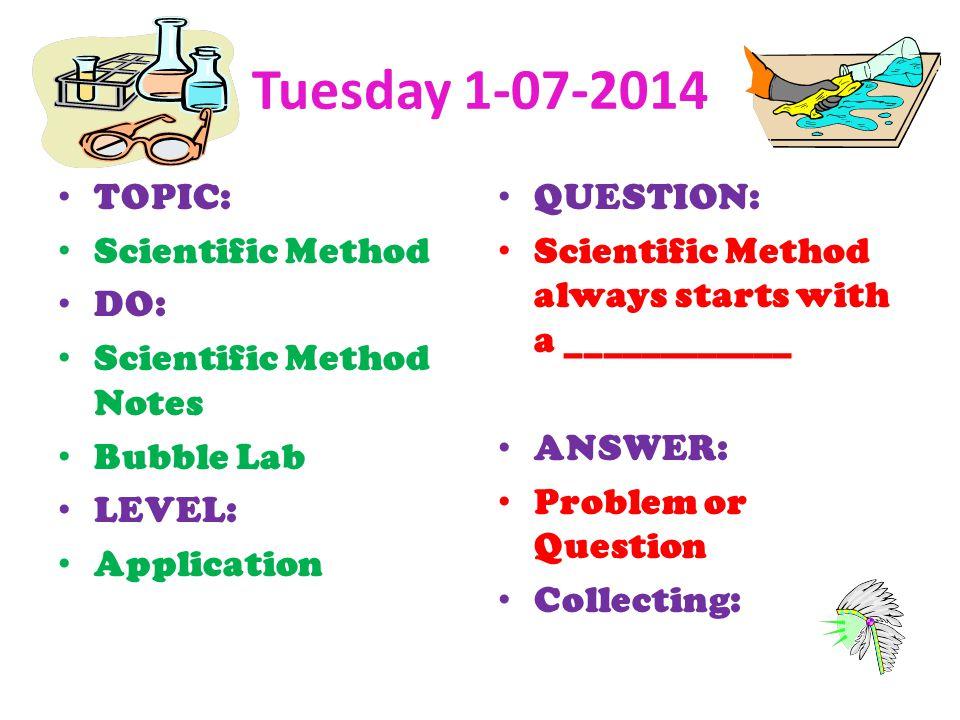 Tuesday 1-07-2014 TOPIC: Scientific Method DO: Scientific Method Notes