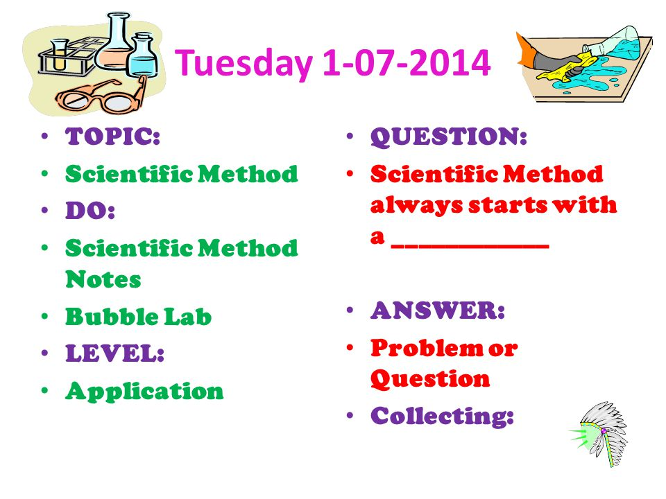 Tuesday TOPIC: Scientific Method DO: Scientific Method Notes