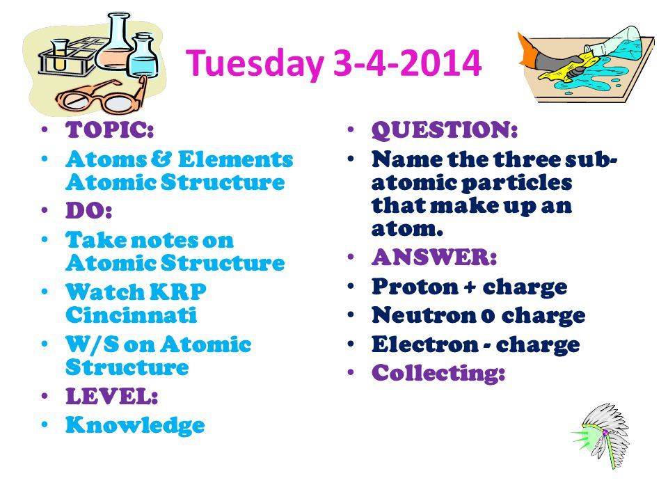Tuesday 3-4-2014 TOPIC: Atoms & Elements Atomic Structure DO: