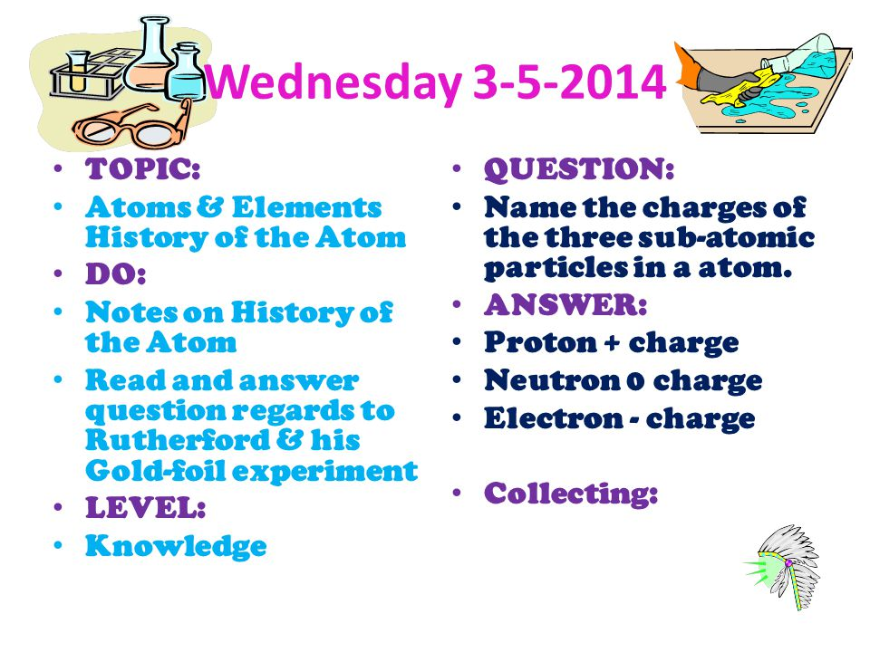 Wednesday 3-5-2014 TOPIC: Atoms & Elements History of the Atom DO: