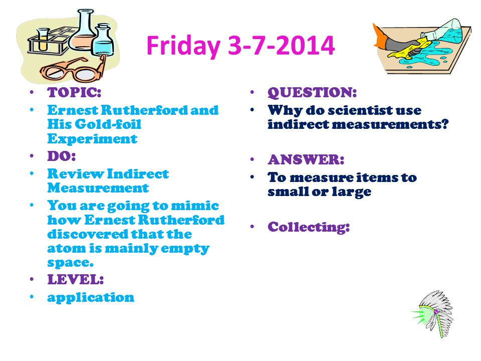 Friday 3-7-2014 TOPIC: Ernest Rutherford and His Gold-foil Experiment