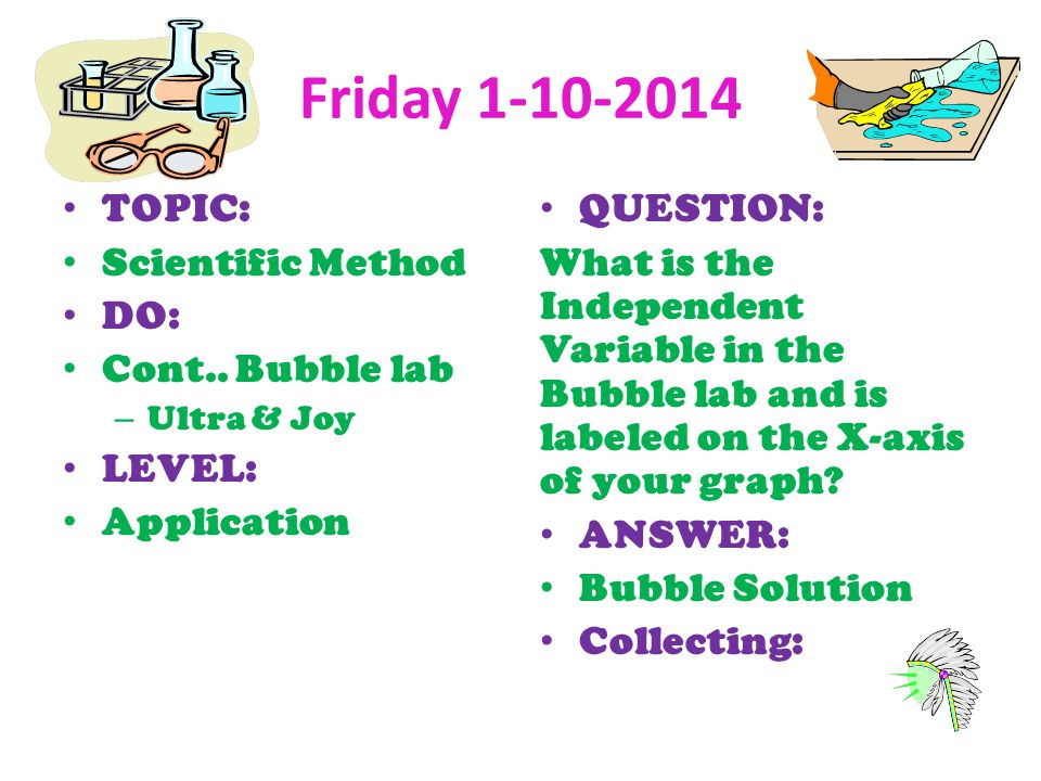 Friday TOPIC: Scientific Method DO: Cont.. Bubble lab LEVEL: