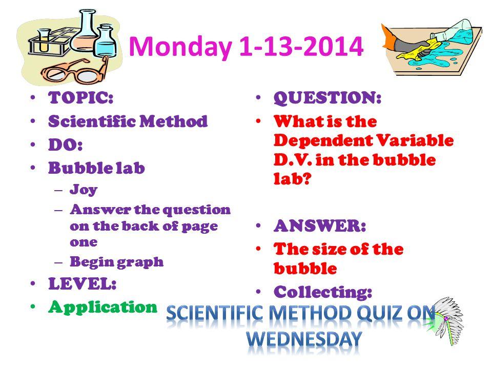 Scientific Method quiz on