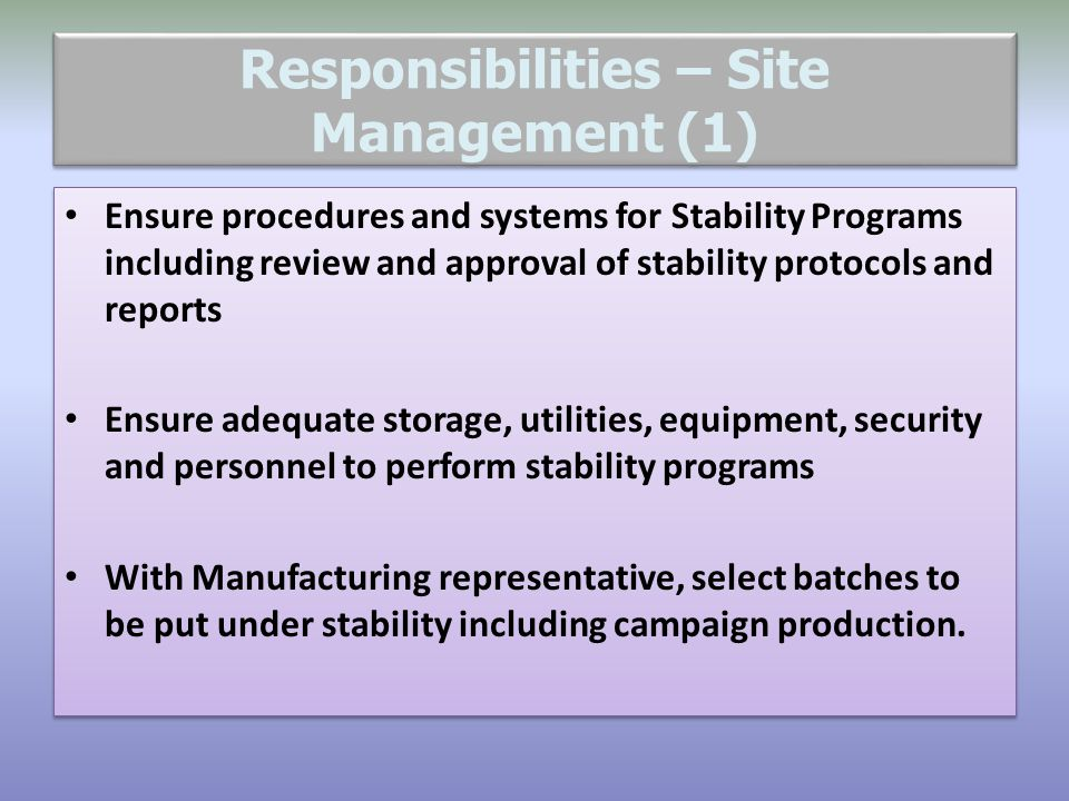 Responsibilities – Site Management (1)