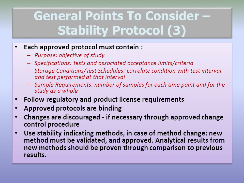 General Points To Consider – Stability Protocol (3)