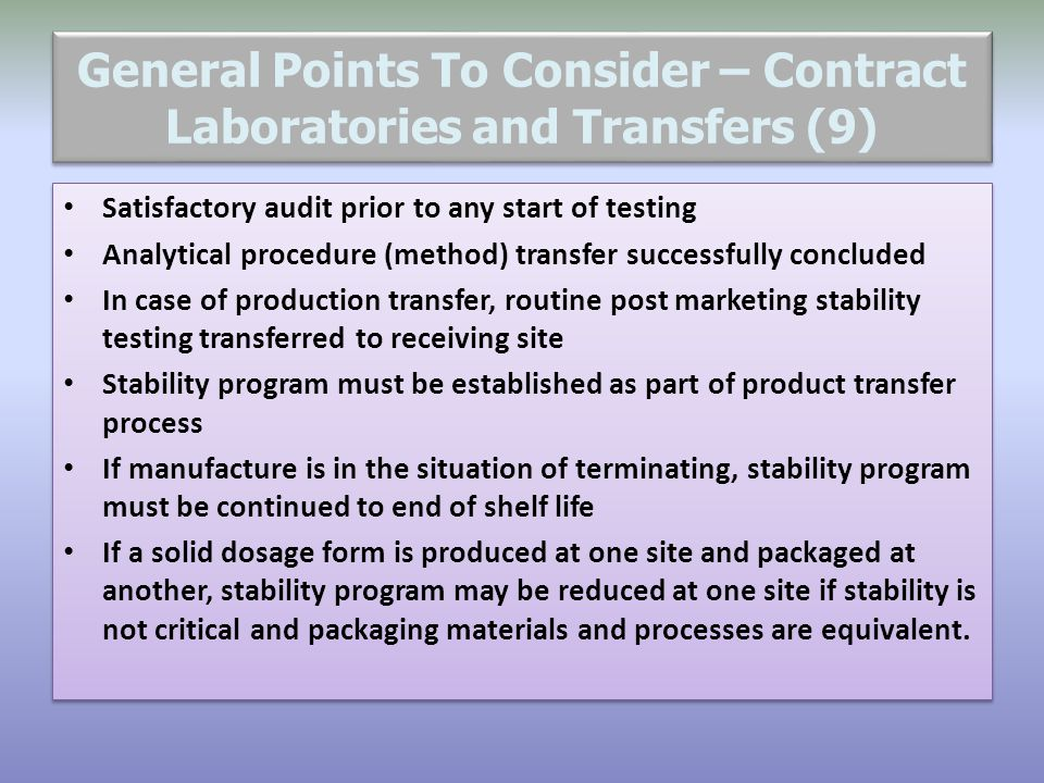 General Points To Consider – Contract Laboratories and Transfers (9)