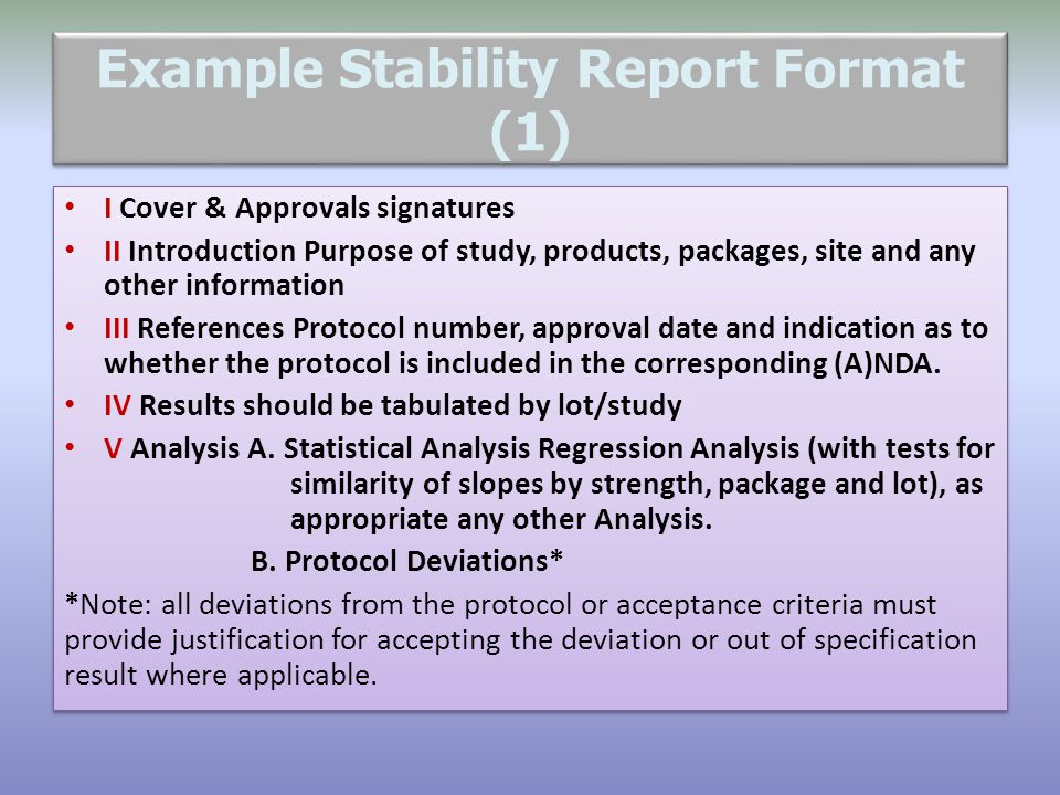 Example Stability Report Format (1)
