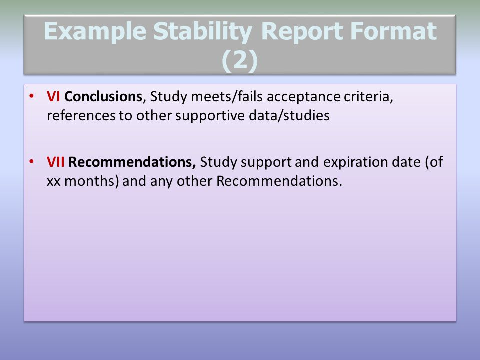 Example Stability Report Format (2)