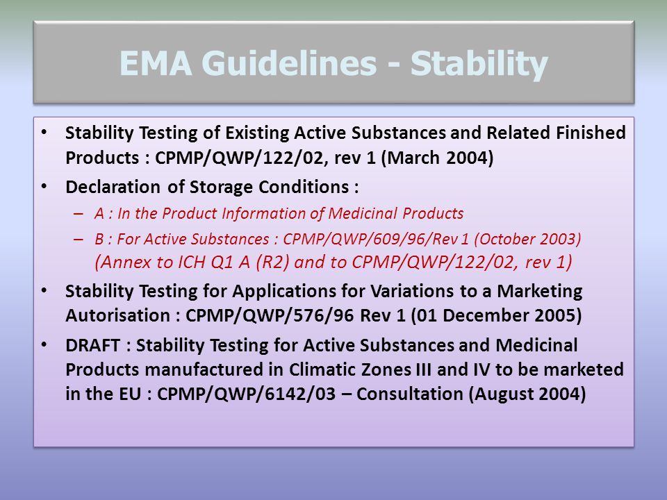 EMA Guidelines - Stability