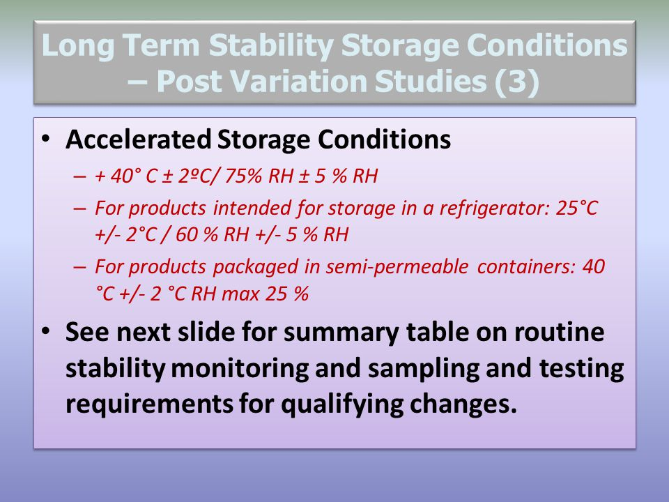 Long Term Stability Storage Conditions – Post Variation Studies (3)