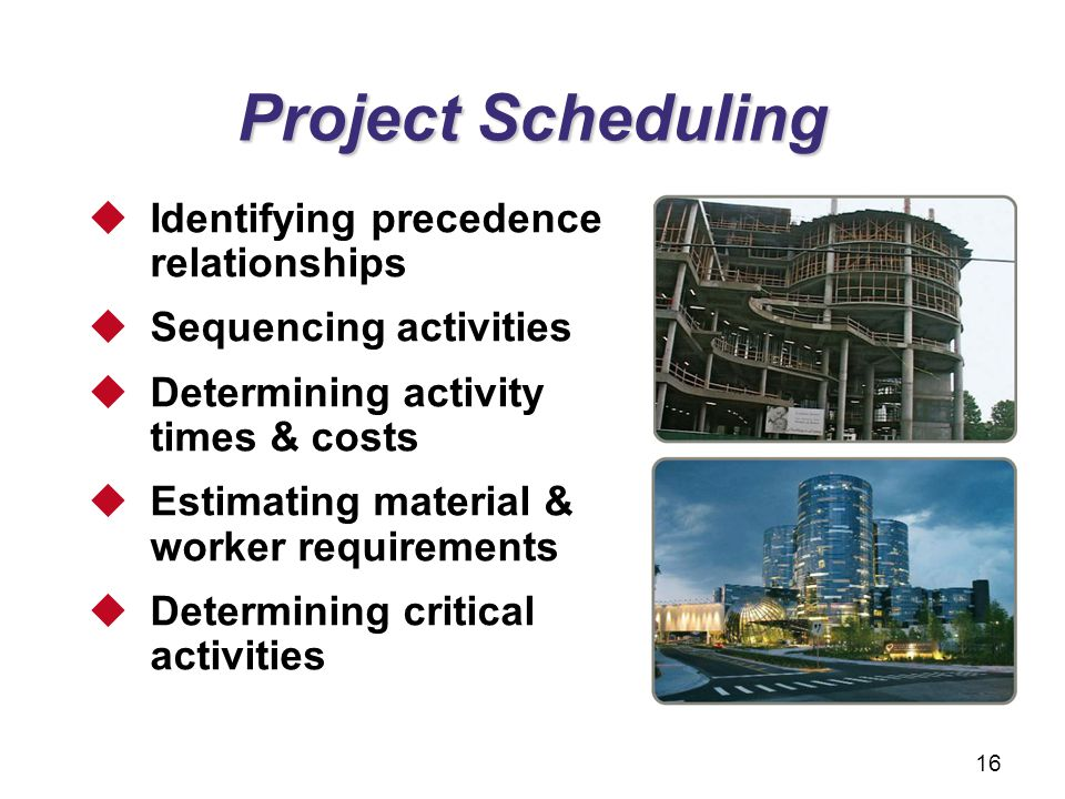 Project Scheduling Identifying precedence relationships