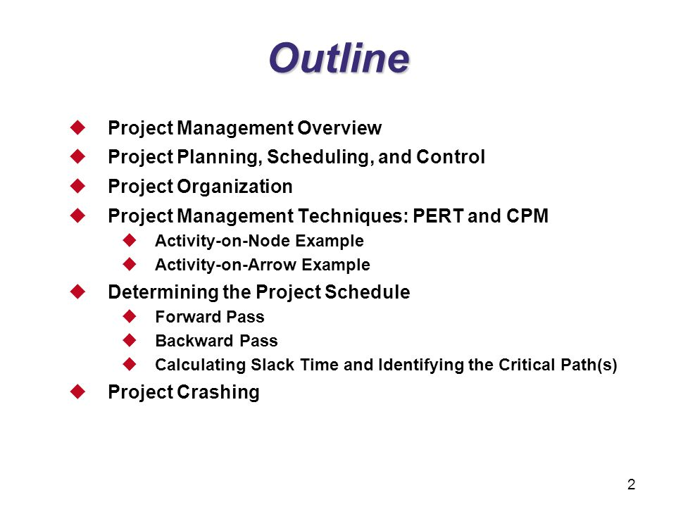 project management sample outline