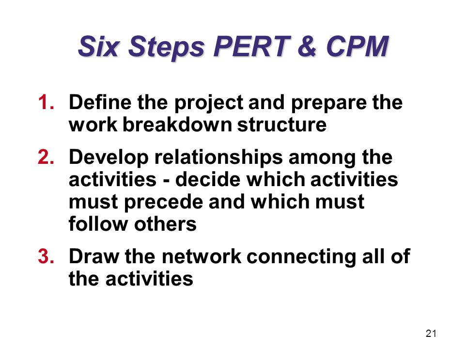 Six Steps PERT & CPM Define the project and prepare the work breakdown structure.