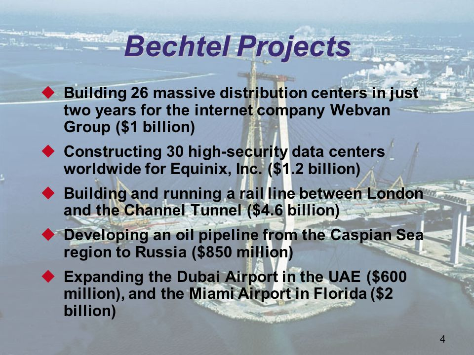 Bechtel Projects Building 26 massive distribution centers in just two years for the internet company Webvan Group ($1 billion)