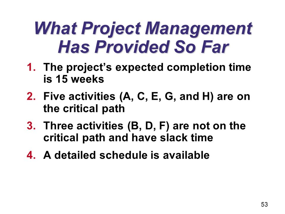 What Project Management Has Provided So Far